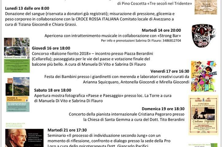 Calendario eventi Agosto 2018